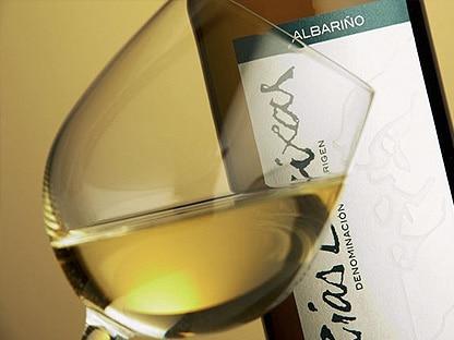 fotografía de copa de vino blanco sobre una botella de Denominación de Origen do Rias Baixas