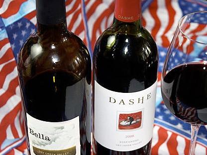 botellas de vino sobre la bandera de Estados Unidos con normativa de exportación para USA