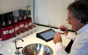 experto en una cata de vino con varios vinos tintos de fondo de varias consejos reguladores