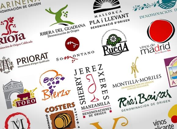 montaje con multitud de logotipos de denominaciones de origen vitivinícolas