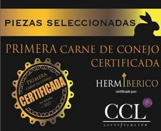 certificación de la carne de conejo del Grupo Hermi en color negro con detalles dorados