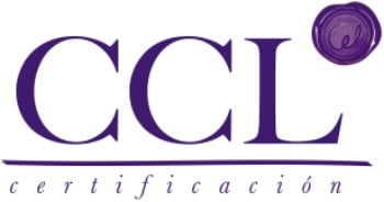 logotipo de ccl certificación en color morado vino