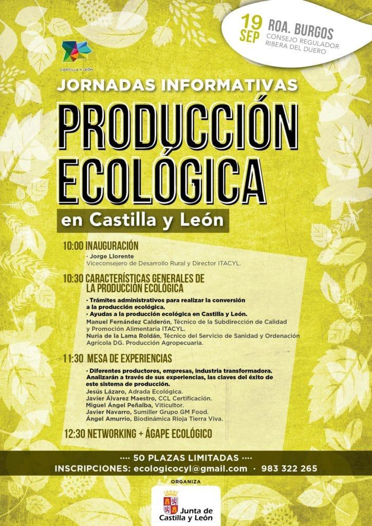 cartel de las jornadas de producción ecológica en Castilla y León